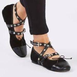 """Topshop """"Primrose""""Black leather ankle strap ballet"""